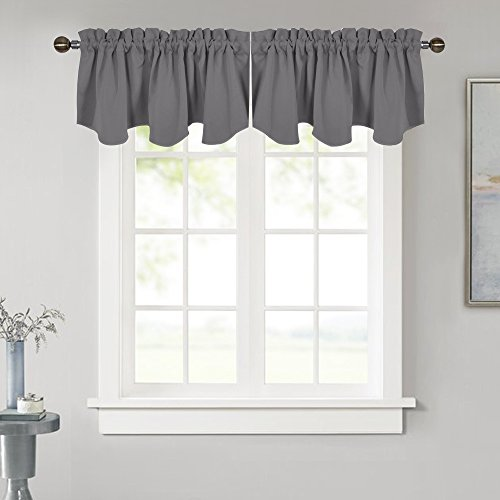 NICETOWN Blackout Window Valance for Kitchen - 52 inches by 18 inches Rod Pocket Blackout Window Topper Treatment Tier Drapery Curtain for Basement/Living Room/Bedroom, Grey, 1 Panel