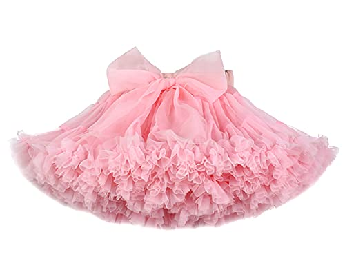 ZRFNFMA Baby Mädchen Tutu Rock Prinzessin Flauschig Weich Tüll Ballett Birt Party Tanz Pettisrock gestufte Röcke Rosa M
