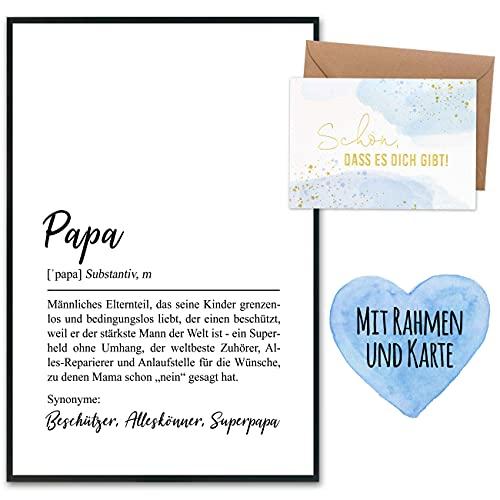 Vatertagsgeschenk Komplettset mit Kunstdruck & goldfolierter Postkarte inkl. Umschlag sowie 2 weiteren Karten - Geschenk zum Vatertag - Design 2 - Definition - mit Rahmen