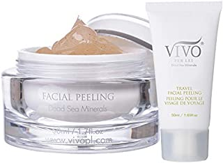 Vivo Per Lei Facial Peeling Gel - Contains Dead Sea Minerals and Nut Shell Powder - Gentle Face Exfoliator Scrub and Blackhead Remover - Peel Your Skin To a Fresher You - 1.7 Fl. Oz.