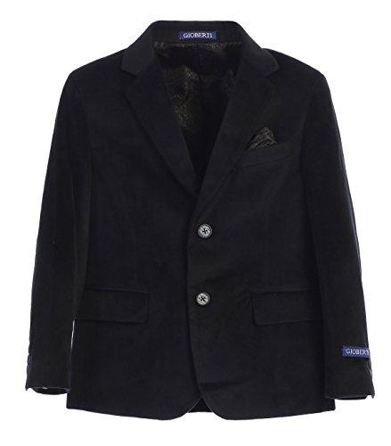 Gioberti Big Boys Formal Velvet Blazer with Designed Buttons, Black, Size 12