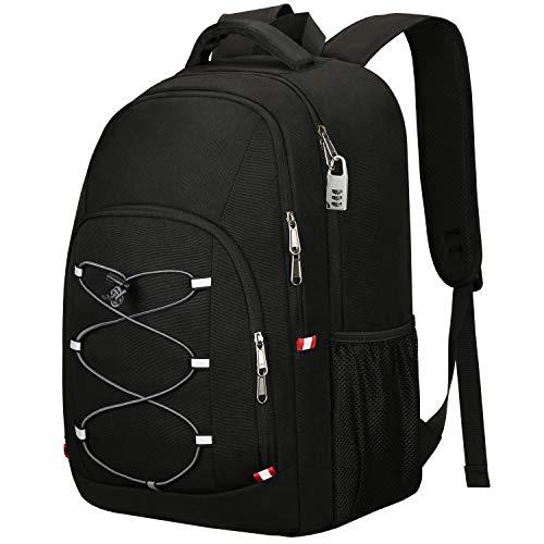 Mochila Antirrobo Impermeable, TSA Friendly Mochila Portátil Hombre 17.3 Pulgadas Puerto USB Impermeable Trabajo Ordenador Viaje Negocio Multifuncional Daypacks Negro