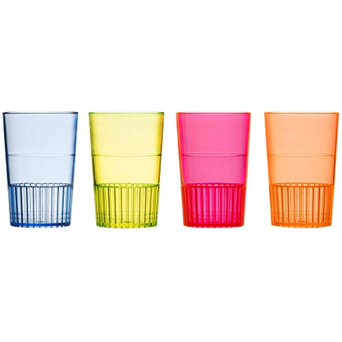 Minoqi Mixed Neon Hard Plastic Shooter Glass- Container for Jello Shots, Tasting. Small Party Cups Ideal for Whiskey, Wine Tasting, Food Samples, and Condiments-(10) pcs