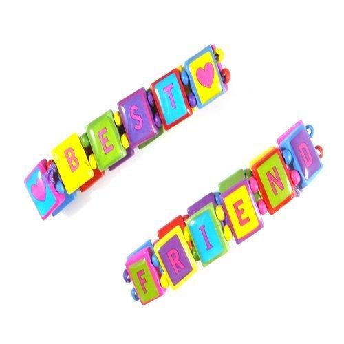 2 Filles Meilleurs Amis Brillant Perle En Bois Bracelets IN2178