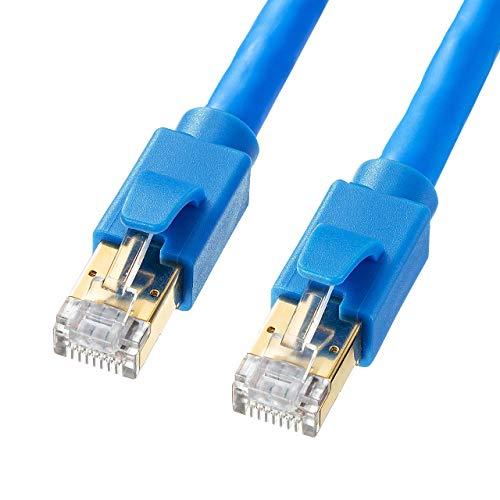 サンワサプライ カテゴリ8 LANケーブル 5m 爪折れ防止 ブルー KB-T8-05BL