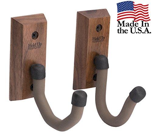 USA Made Hardwood Horizontal Gun Rack Hanger Rifle Shotgun Bow Rack Hooks (Pair) - Black Walnut