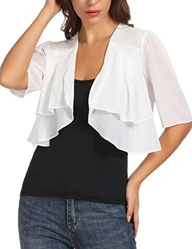 Shrug for Women Dressy Three Quarter Sleeve Loose Casual Chiffon Cardigan (XL,Ivory)