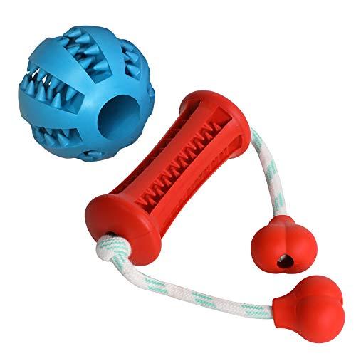 Heych Hunde Spielball-Knochen Set: 1 STK. Ø7cm Blauer Hundeball und 1 STK.12 cm Roter Kauspielzeug Knochen mit Zahnpflegefunktion Noppen mit Leckerli Steckmöglichkeit. (BPA frei, Bissfest, langlebig)