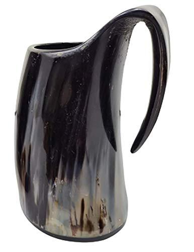 Cuerno de toro genuina Taza pulida de de a mano XL: taza de 15cm (6pulg.) elaborada a mano de estilo de Juego de Tronos. Taza vikinga para utilizar como jarra de cerveza o vino de 0,9l (32onzas)