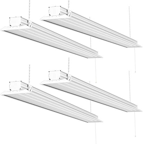Sunco Lighting 4 Pack Flat LED Shop Light, 4 FT, Linkable Double Integrated LED, 40W=300W, 5000K Daylight, 4500 LM, Clear Lens, Plug in, Suspension Mount, Pull Chain, Garage - ETL + Energy Star