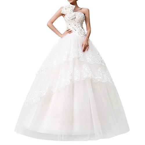 VK Direct Viktion Damen Lang Hochzeitkleid Hochzeitskleider Brautkleider Hochzeit Kleid weiß lang Abendkleid (38/ L)