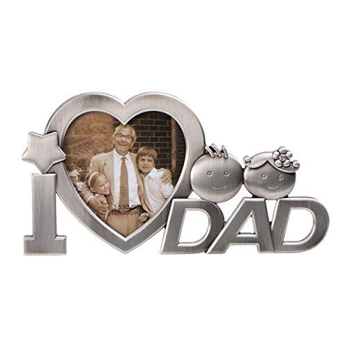 OULII Io amore papà metallo fotografia cornice festa del papà regali Home decorazione (argento)