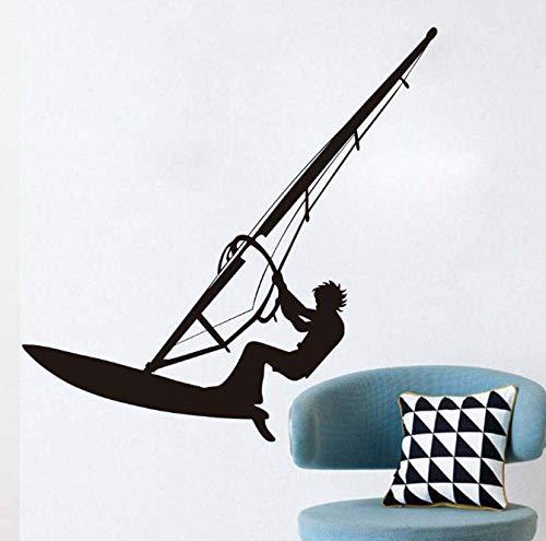 Surf Windsurfer Tatuajes de pared Vinilo negro Autoadhesivo Sea Sport Windsurfing Lover Boys Teen Room Wall Decor Sticker 44Cm X 44Cm