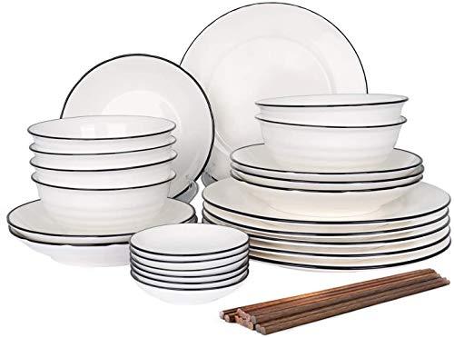 CSYY Geschirr Set aus Steingut, 30 teilig, Geschirrservice für 6 Personen, Teller-Set aus Porzellan, Premium Runde Geschirrset mit Schüsseln, Essteller,Dipschalen, Essstäbchen,Weiß