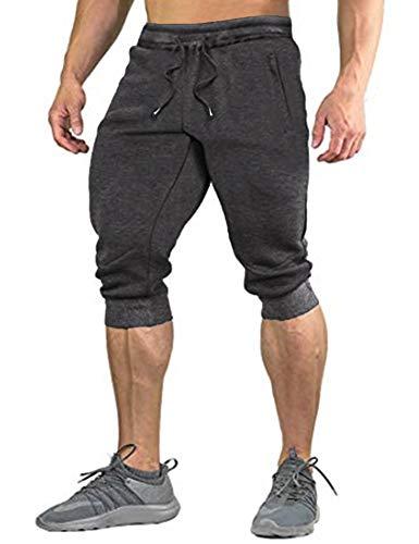 COOFANDY Herren Hose 3/4 Jogginghose Sporthose Traininghose Herren Shorts Freizeit Shorts Elastisch Atmungsaktiv Hose, Grau, M