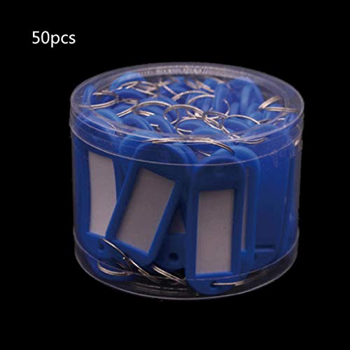XUNXI Llaveros novedosos, 50 Piezas, una Caja, Colorida, para identificación de Llaves, Equipaje, Etiquetas para casa, Anillo Dividido, Llavero, Llavero, Etiquetas de plástico con contenedor,