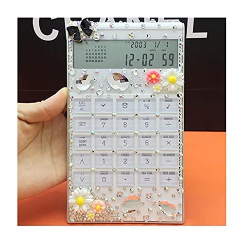 BENO Calculadora Reloj De Alarma De Calcomulumas Multifunción Delgado De Diamante con Una Calculadora De Tiempo De Oficina calculadora portatil (Color : Daisies)