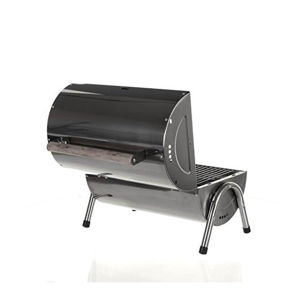 Marko Silver Portable Barrel BBQ Barbecue Steel Table Top Outdoor Garden Camping Picnic 5