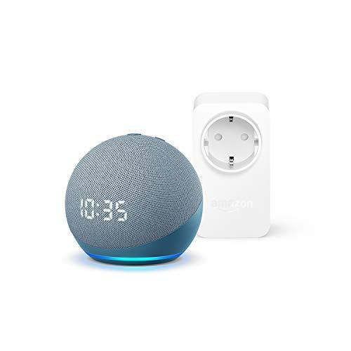Der neue Echo Dot (4. Generation) mit Uhr, Blaugrau + Amazon Smart Plug (WLAN-Steckdose), Funktionert mit Alexa