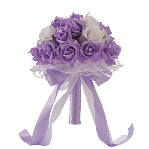TIREOW Blumenstrauß Romantische Hochzeit Bunte Künstliche Hochzeitsstrauß Rosen Seidenblumen Seidenrosen Kunstblumen Blumen Brautstrauß der Braut (Lila)