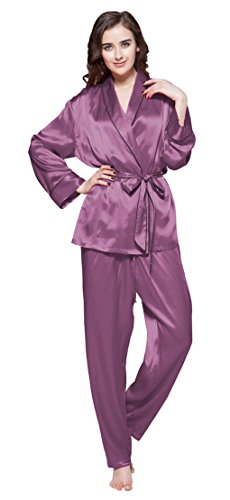 LilySilk Women's Mulberry Silk Robe Pajama Set Sleep Ladies Sleepwear Comfy Soft Full Length with Belt 22 Momme Silk Violet Size 0-2/XS