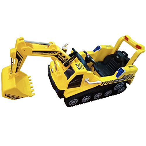 Kids Ride Excavator Truck Toy,FD-2811 2.4G Crawler Construction Truck Manned Dual Mode RC Excavator Car RTR, Boys & Girls, Outdoor (Yellow)