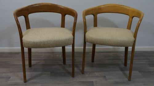 Skandinavischer Designer Sessel Stuhl Beige Stoff Holz Retro 60er 50er