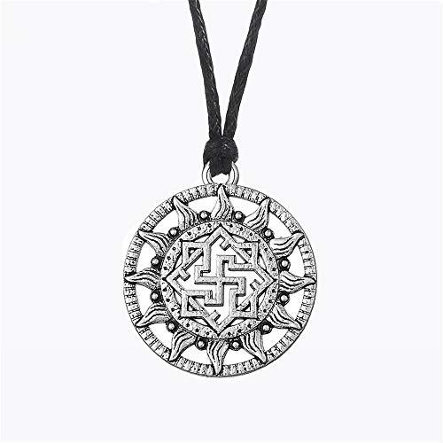 Herrenhalskette Amulett Halsband Viking Ethnische Halsketten Yarilo Symbol Walküre Molvinets Slave Sonnenrad Talisman Anhänger Halskette