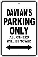 レトロなビンテージスタイルの看板ダミアンの駐車場-ビンテージの外観の複製金属ティンサイン金属看板壁の装飾ガレージショップバーリビングルームの壁アートポスター