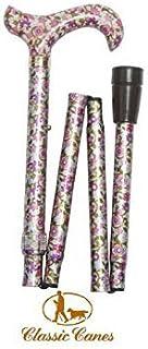 Ladies Adjustable Folding Walking Stick Cane - Pink Floral Colour