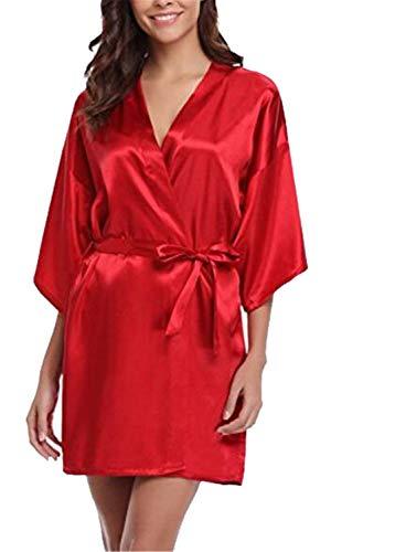 Women Silk Satin Short Robe Solid Kimono Bath Sexy Bathrobe Peignoir Wedding Bridesmaid red M