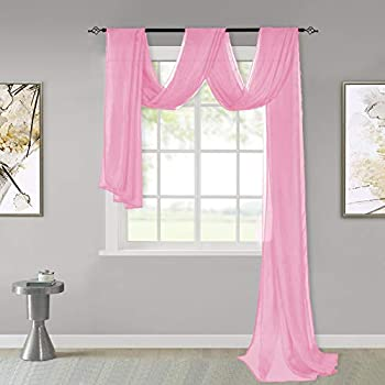 KEQIAOSUOCAI Pink Sheer Window Scarf Valance Sheer Fabric for Draping Curtain Toppers for Wedding Party Girls Room Bed Canopy Scarves 52 Inches Wide by 216 Inches Long Pink