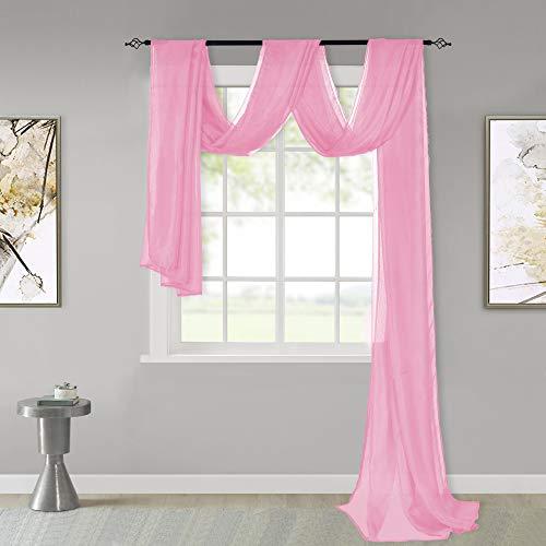 KEQIAOSUOCAI Pink Sheer Window Scar…