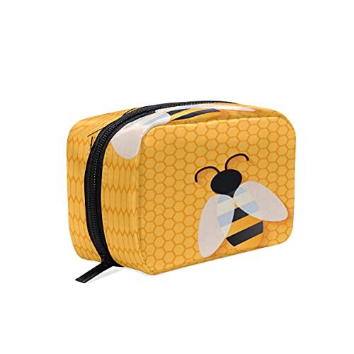 BOLOL - Bolsa de maquillaje con forma de abeja animal, bolsa de aseo grande, bolsa de viaje para mujeres y niñas, organizador geométrico portátil, bolsa de almacenamiento