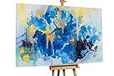 Kunstloft® Extraordinario Cuadro al óleo 'Cool Cobalt' 180x120cm | Original Pintura XXL Pintado a Mano sobre Lienzo | Manchas abstractas Pastel Azul | Mural de Arte Moderno