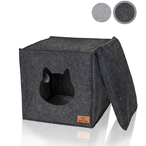 Bella & Balu Filz Katzenhöhle inkl. Kissen + Spielzeug (ideal für Ikea Kallax und Expedit) – Faltbare Kuschelhöhle für Katzen zum Schlafen, Verstecken, Toben und Kratzen (Dunkelgrau) …