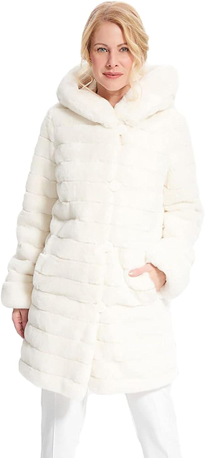 Joseph Ribkoff Faux Fur Reversible Coat in White