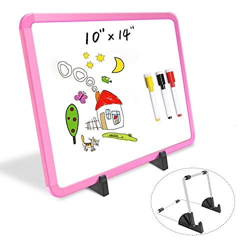 Small Dry Erase White Board 10 x 14', Desktop Whiteboard Easel, Double-Sided Magnetic White Board with Colored Frame for Home School Kids, Mini Portable Whiteboard with 4 Markers 1 Eraser - Pink