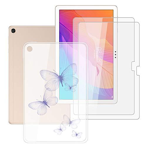 HHUAN Tableta Funda para Huawei Enjoy Tablet 2 10.1 Pulgadas con 2 Piezas Cristal Templado Protector de Pantalla, Semi-Transparent Soft Silicone Carcasa TPU Cover Case - Sombra Morada