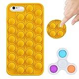 Tikapo Fidget Toys Spinner & Silicone Pop Funda protectora impermeable para iPhone (amarillo, iPhone 6 Plus/6S Plus/7 Plus/8 Plus)