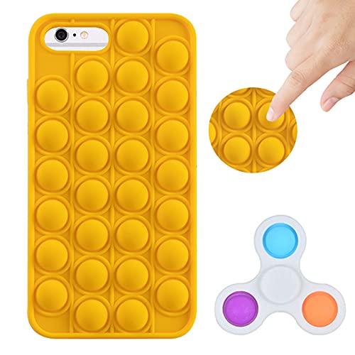 Tikapo Fidget Toys Spinner & Silikon Pop wasserdichte Schutzhülle für iPhone (gelb, iPhone 6 Plus/6S Plus/7 Plus/8 Plus)