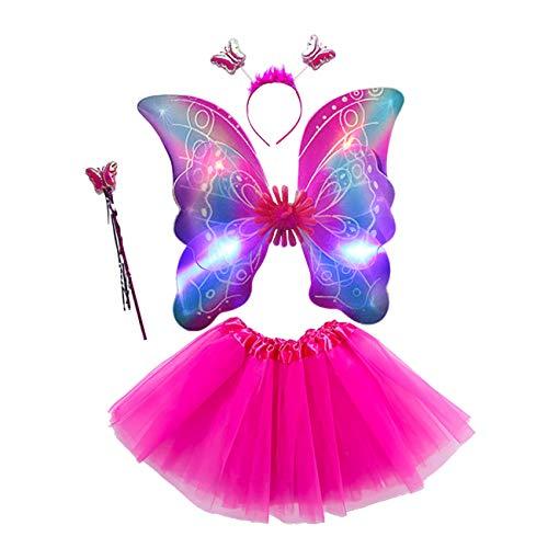 EZSTAX 4pcs LED Leuchtend Schmetterling Kostüm Halloween Cosplay Prinzessin Elfe Flügel mit Zauberstab für Party Karneval Fasching Fastnacht Halloween,Rose 2#