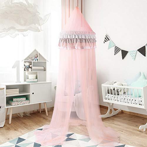 NIBESSER Baldachin für Kinder/Babys 100% Polyester Gewebe Romantischer Betthimmel Moskitonetz Kinderbett für Kinderzimmer Himmelbett Hohe 240cm (Typ 3 Hellrosa)