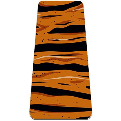 AIBILI Esterilla de yoga de 6 mm de grosor para hombres y mujeres – Esterilla antideslizante para yoga, pilates, estiramiento, suelo y ejercicios de fitness (72 x 24 x 6 mm) Sexy Wild Tiger Stripe