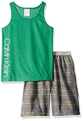 Calvin Klein Little Boys' 2 Piece Sleepwear Top and Bottom Pajama Set Pj, Pine, ck Green Gray Logo, Large (10/12)