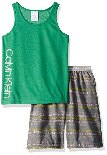 Calvin Klein Little Boys' 2 Piece Sleepwear Top and Bottom Pajama Set Pj, Pine, ck Green Gray Logo