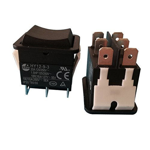 2pcs HY12-9-3 6 Pins Industrial Push Button On Off On Rocker Switch Pushbutton Switches for Electric Power Tools 125/250V 18(10) A