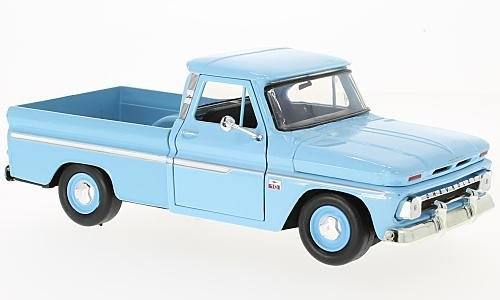 Chevrolet C10 Fleetside Pick Up, hellblau, 1966, Modellauto, Fertigmodell, Motormax 1:24