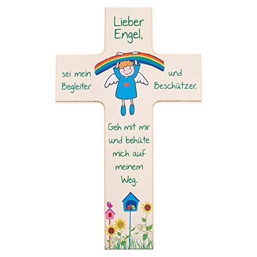 FRITZ COX® Kinder-Holzkreuz 'Regenbogen-Engel' 15cm, farbenfrohes Kreuz für ein Kinder und als Taufgeschenk