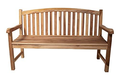 SAM 3-Sitzer Gartenbank Oval, Sitzbank 150 cm, Teakholz massiv, Holzbank für Balkon, Terrasse oder Garten, pflegeleichtes Unikat, Gartenmöbel aus Teak